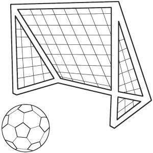 Soccer Ball And Net Sports Coloring Pages