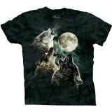 The Mountain Men's Three Wolf Moon Short Sleeve Tee,Dark Green,Medium (Apparel)By The Mountain
