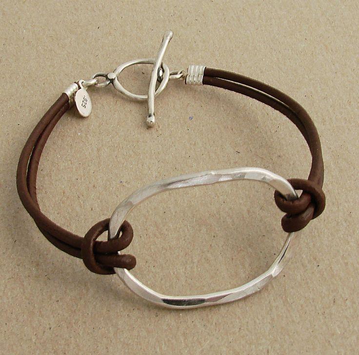 Large hammered sterling oval bracelet on brown leather