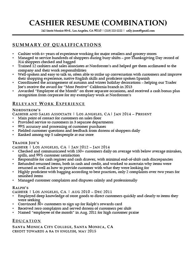 Cashier Resume With Qualifications Summary Download Jpg 627 810
