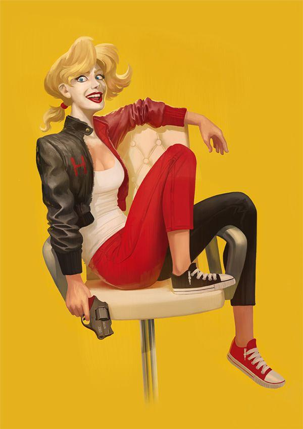 Harley Quinn is Your Greaser Girlfriend in Cool Geek Art