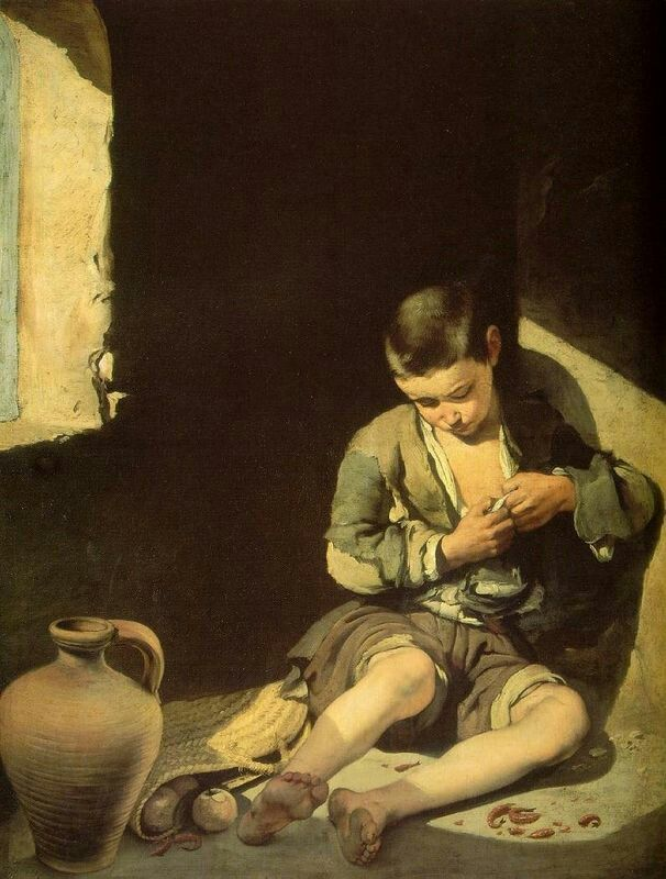 """The young beggar"". Murillo. It shows a young boy, lit by the harsh rays of the sun. Sentimental and realistic,  it enjoyed immense success. #art"