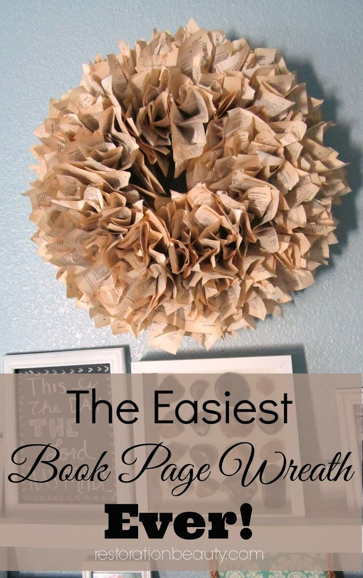 The Easiest Book Page Wreath Ever