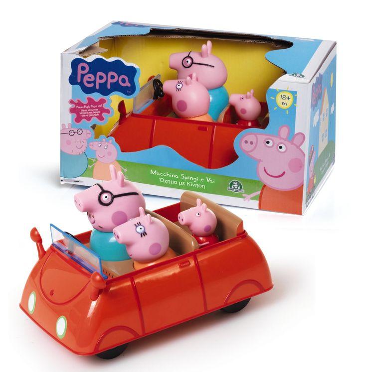 L'originale Macchina Spingi e Vai della famiglia Pig. Premi Papà Pig e guarda l'auto sfrecciare! Inclusi anche Mamma Pig e Peppa, non removibili. L'articolo non richiede l'uso di batterie: l'auto si muove autonomamente attraverso l'attivazione di un meccanismo manuale.