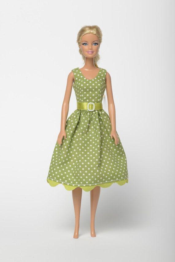 "Handmade Barbie doll clothes, Barbie dresses, Barbie outfit - ""Dotted Harmony"" Barbie dress  (273)"