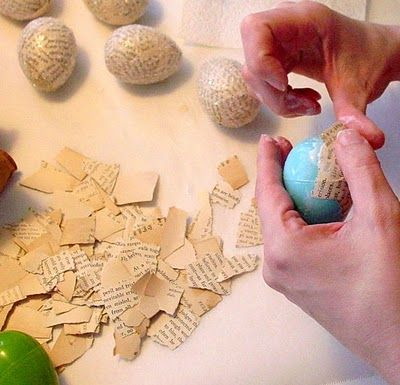 Decoupaged Easter Eggs using book pages, old sheet music,etc. and plastic eggs. Nice.