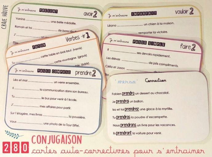 Exercices de conjugaison : des CARTES pour s'entraîner en autonomie et des TESTS pour valider - Craie hâtive