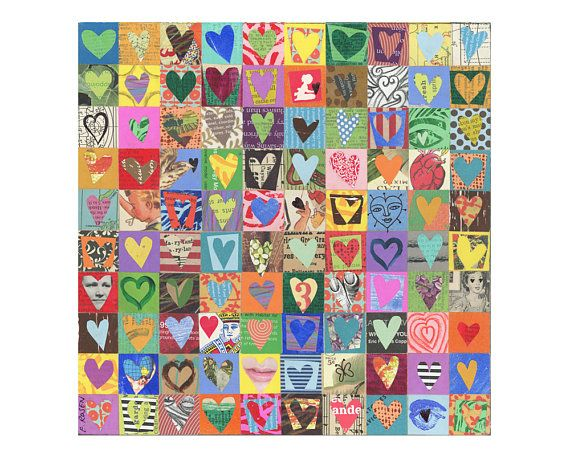 100 Hearts (9) This art is a tic bigger than 10 x 10 on wood. 100 squares with 100 hearts made up of all sorts of ephemera, with acrylic paint, colored pencils and more. The sampled papers are a mix of vintage, antique, augmented vintage (drawn or painted on) and completely hand-painted. A nice array of interesting bits. I cut and pieced everything by hand- 200 pieces, 3 days in the making! I rather prefer cutting everything by hand (vs. punching) as the shapes are happily irregular and…