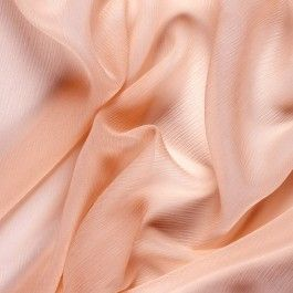 Mood's chiffon is a sheer, lightweight and ethereal fabric with a subtle, crinkled texture. It makes an excellent fabric to use as a top layer (overlay fabric), as sheer insets to garments, and as ruffles and flowing scarves and draped extensions. Available in 96 attractive shades.