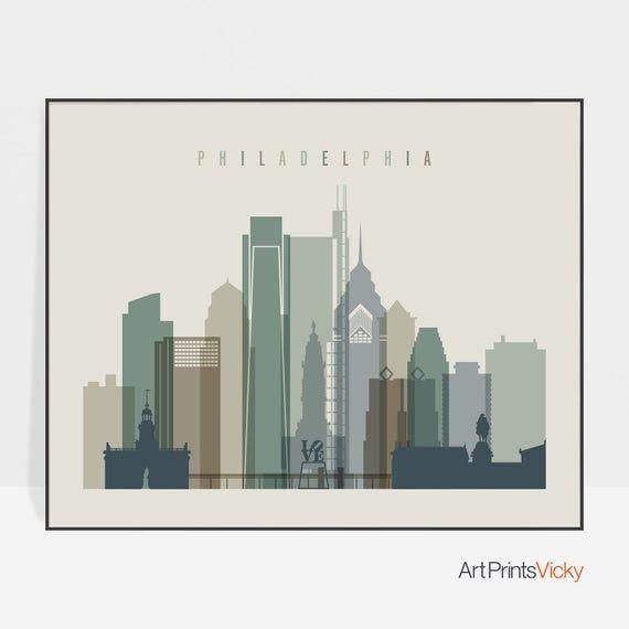 Philadelphia Skyline Philadelphia Print Poster Wall Art Etsy In 2020 Philadelphia Wall Art City Prints Philadelphia Print
