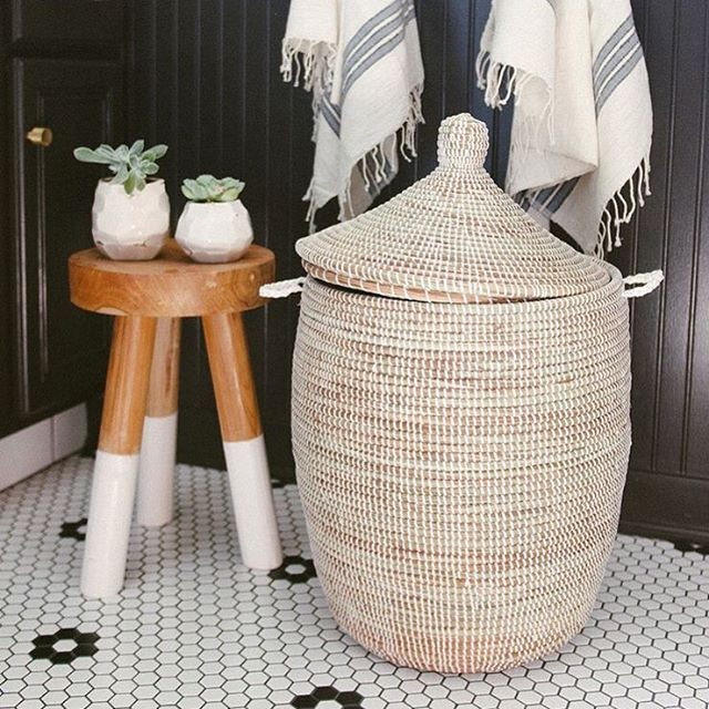African basket hamper perfect addition for your bathroom  Sourced by Pinterest