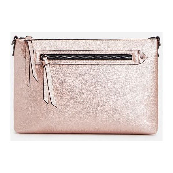 Justfab Clutches Alder (32 AUD) ❤ liked on Polyvore featuring bags, handbags, clutches, rose gold, zipper purse, zipper handbag, metallic handbags, justfab handbags and justfab