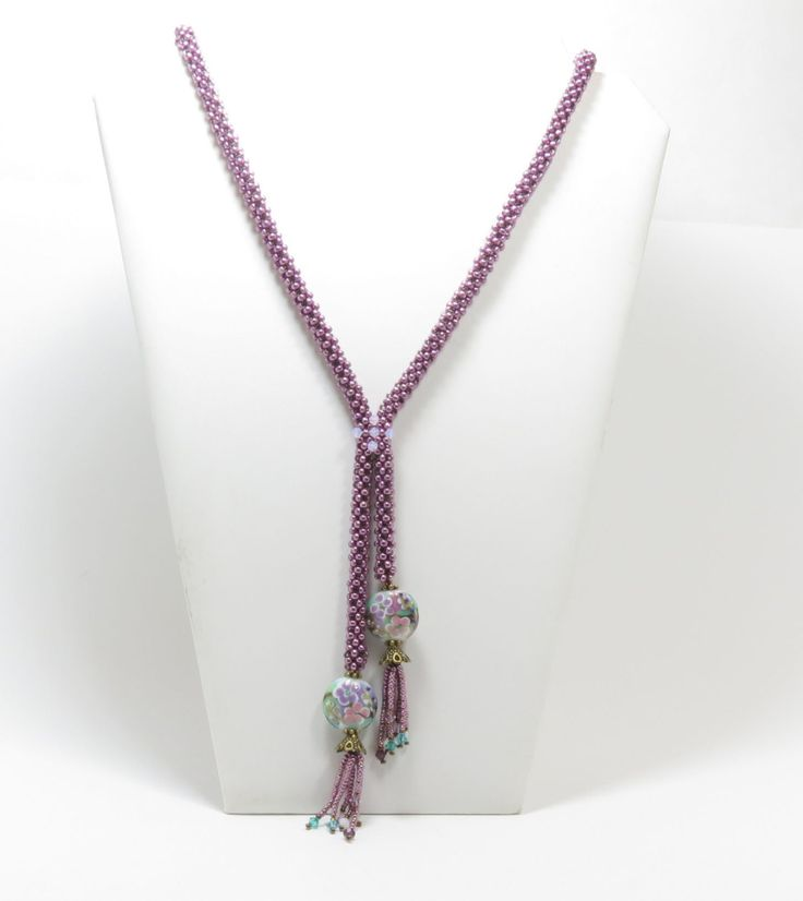 Right Angle Crystal : Cubic right angle weave rope quot y necklace with lampwork