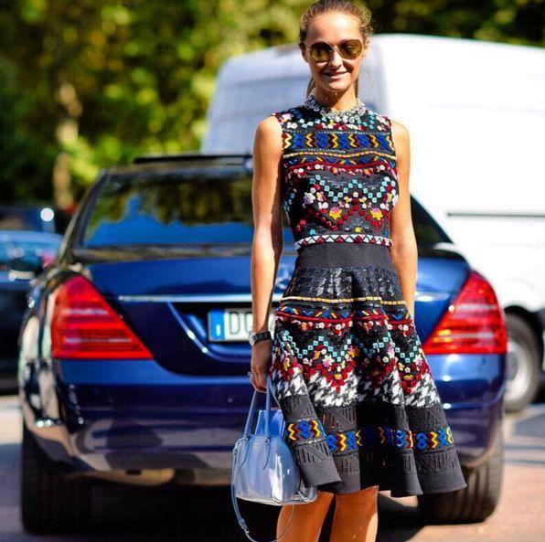 Colorful Daria Shapovalova wearing an Ermanno Scervino FW 2015-16 folk multicolor dress during Milan Fashion Week #ScervinoLive #ErmannoScervino  Regram @daria_shapovalova