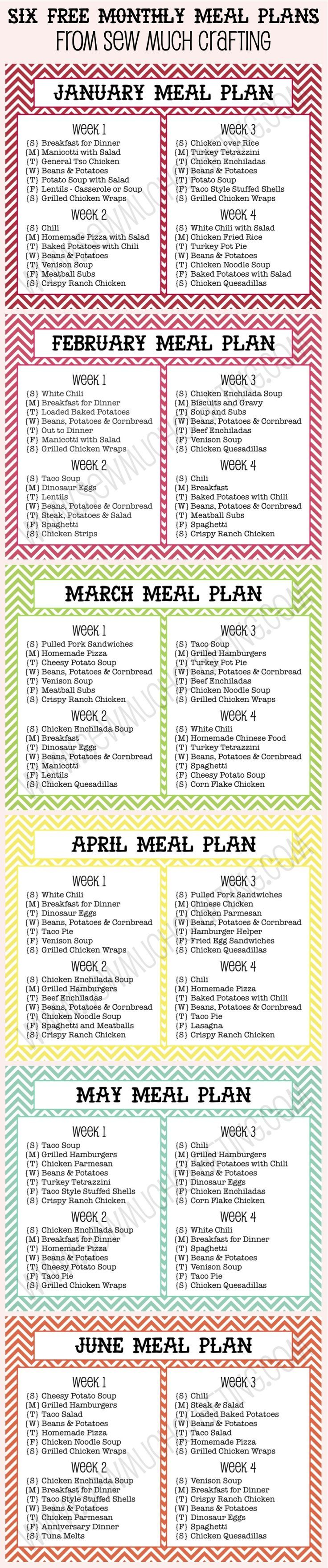 I love to plan out my meals. Here are 6 FREE Monthly Meal Plan Printables in…