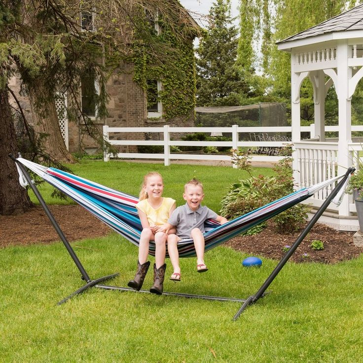 Free Standing Hammock Swing Steel Stand Outdoor Bed Patio Camping Porch  Cotton