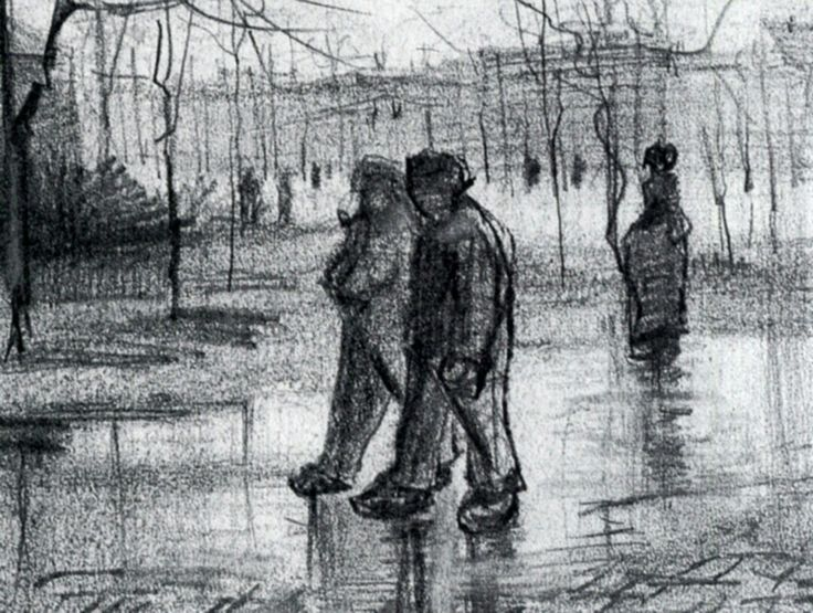 A Public Garden with People Walking in the Rain by Vincent van Gogh   Medium: chalk on paper