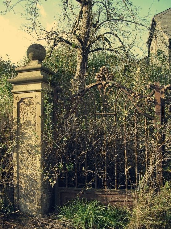 Overgrown Mansion Gardens with Stone Columns and Wrought Iron Gates