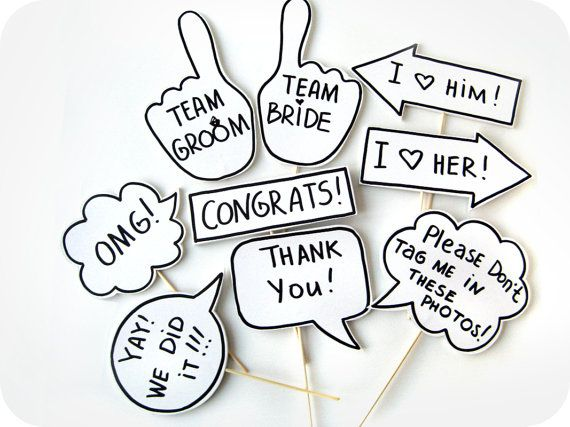 Photobooth Props - Party Photo Booth Signs with TEXT - Mix of small signs on sticks - Set of 9 photobooth signs- BEST PRICE via Etsy