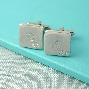 Personalised Scrabble Style Pewter Cufflinks