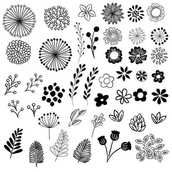 Hand Drawn Floral Elements // Clip Art Set // by birDIYdesign – a.liZ.a