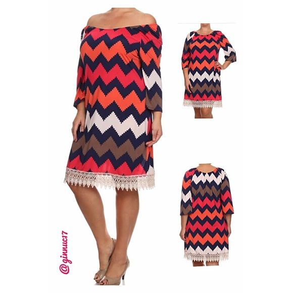 Stunning Chevron Print Dress w/Crochet Lace Trim Stunning Plus Size Boutique Label Chevron Print Dress w/Crochet Lace Trim. Can be worn ON or OFF the shoulders for a day to night flirty look. Material 95% Polyester 5% Spandex. *See Attached Size Chart* Boutique Dresses Midi