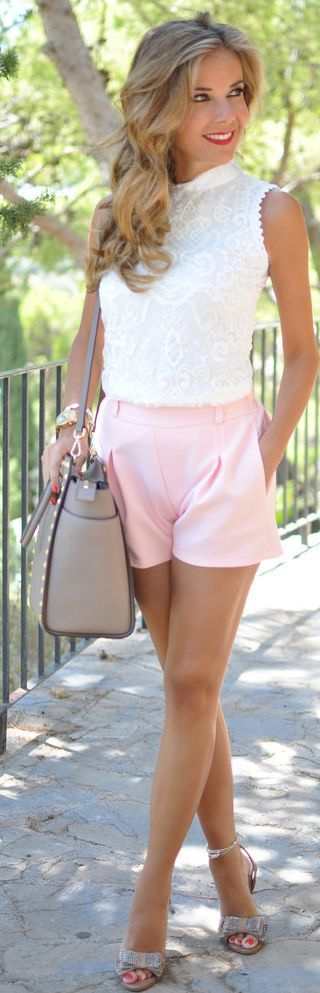.cute white short shirt,pink shorts,cute heels,big shoulder purse,I love her hair and soft romantic make-up