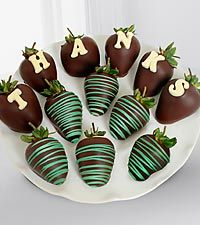 Cute idea for decorating chocolate covered strawberries. Suggestion: Use white Chocoley Drizzle & Design Chocolate with chocolate coloring. For delicious dipping chocolate, use Chocoley Bada Bing Bada Boom Gourmet Compound Dipping Chocolate (available in dark, milk & white) from Chocoley.com.
