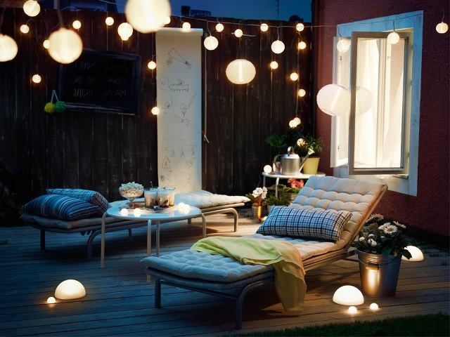 Exceptional Patio Filled With Ikea Solar Lights