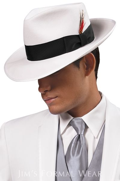 Fedora Hat in White for the groom
