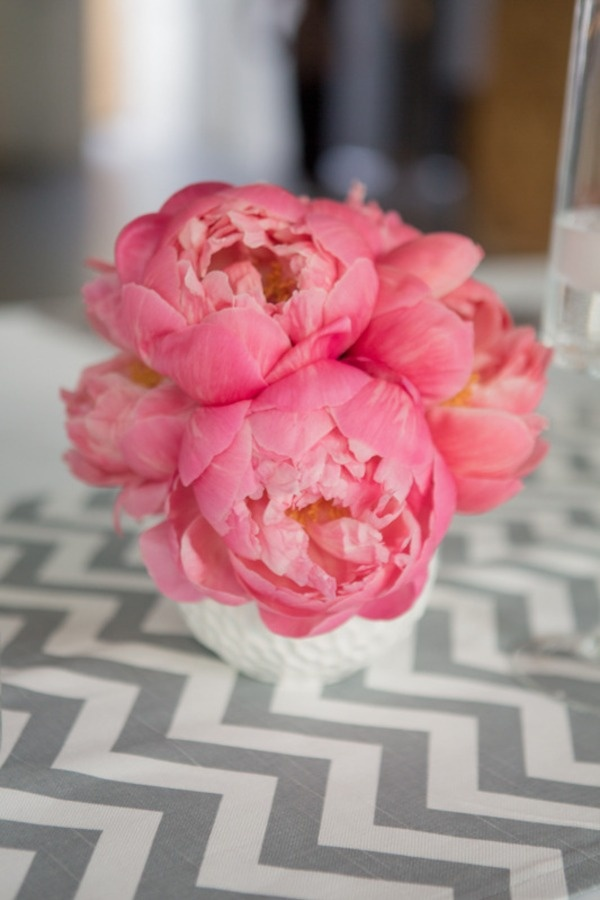 Chevron stripes and peonies