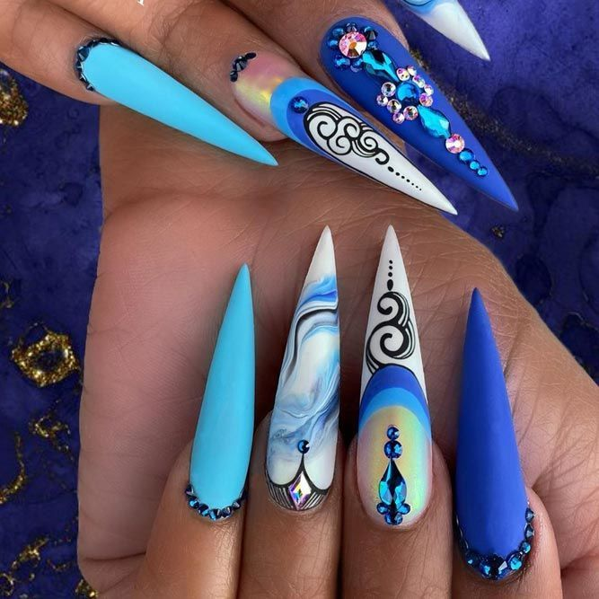 Inspiring Stiletto Nails To Win Over You Naildesignsjournal Com In 2020 Stiletto Nails Stiletto Nails Designs Blue Nails