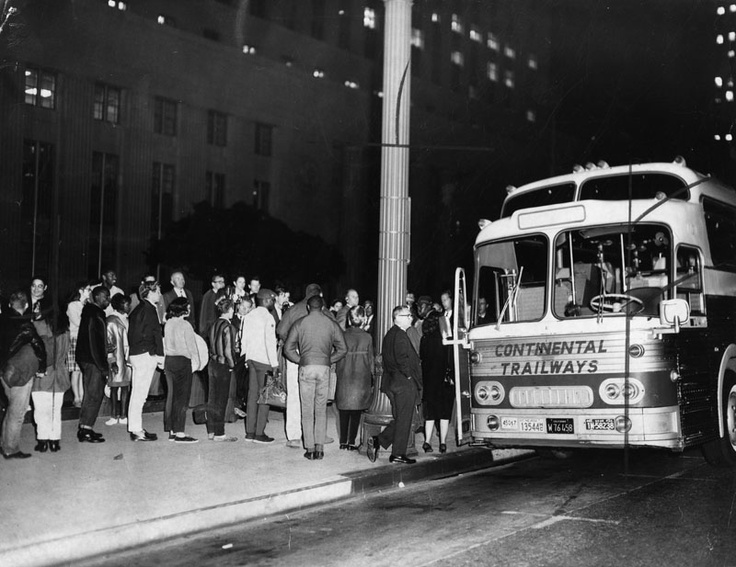 "Busload of L.A. marchers leave for Alabama march   [graphic]  	A chartered bus with 37 aboard, leaves the Federal Building under strict security measures. The Los Angeles civil-rights partisans were on their way to Alabama to participate in Dr. Martin Luther King's ""Negro vote"" march. [1965]"