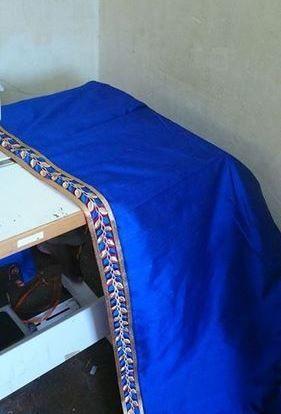 Blue Raw Silk Saree With Leaf Design Cutwork Border