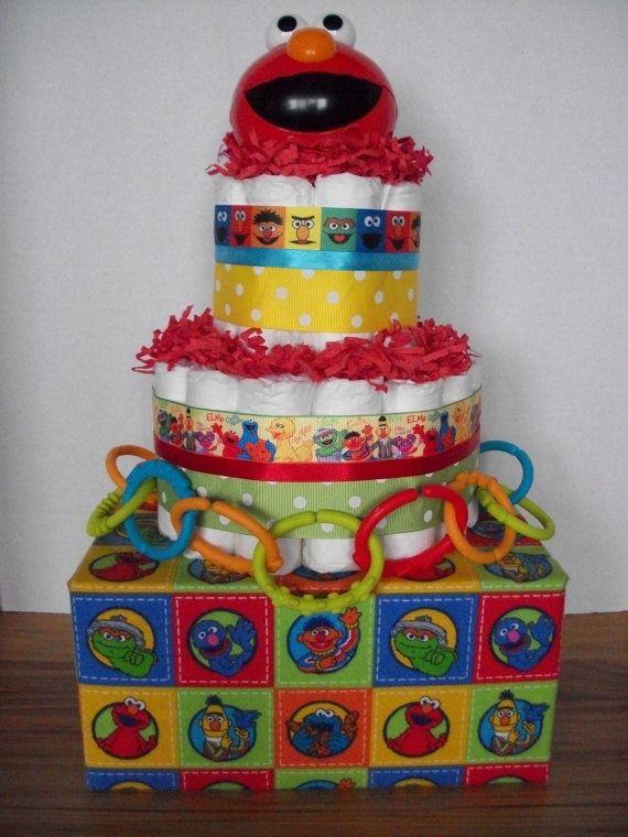 Nice Sesame Street Elmo Diaper Cake Baby Shower Gift Table Decoration Centerpiece
