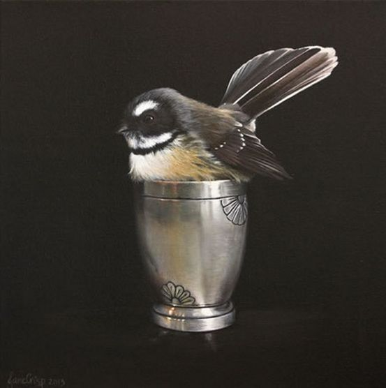 Cute in a Cup - NZ Fantail (Piwakawaka) by Jane Crisp. Available in art-prints and notecards from Image Vault