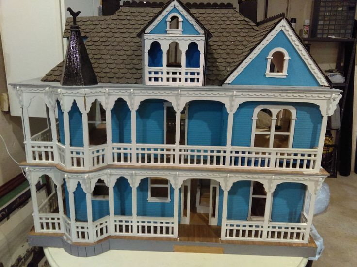 Minature Wooden Doll House W/ Family And Furnature 3 Stories 9 Rooms Needs  TLC