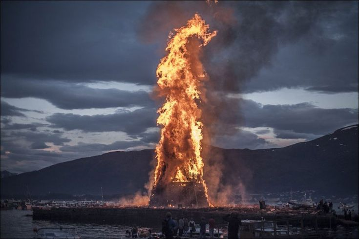 The worlds biggest bonfire in Alesund Norway