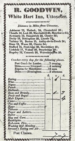 1830 Bill of Fare for the White Hart Inn in Uttoxeter. (Image from Coaching Days of England Together with an Historical Commentary by Anthony Burgess, 1966)