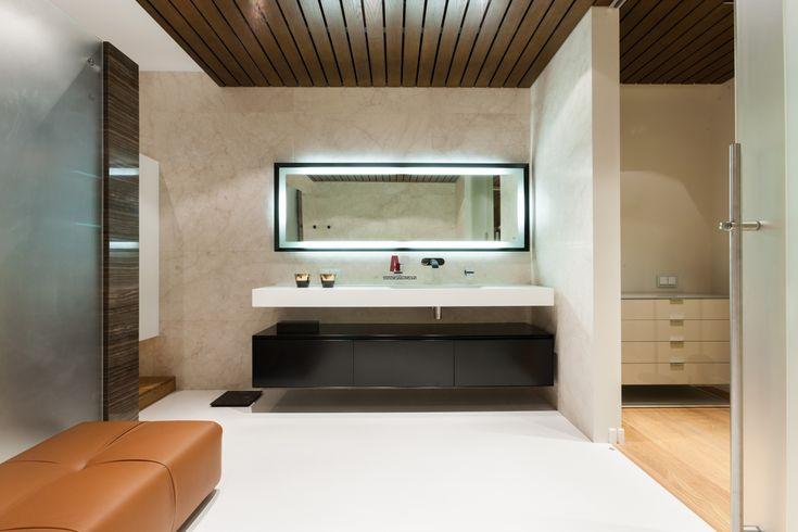 Фото интерьера зоны СПА двухуровневой квартиры в эко стиле