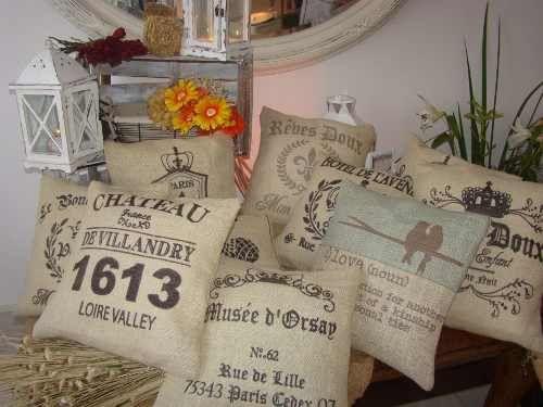 almohadones en tela de arpillera importada