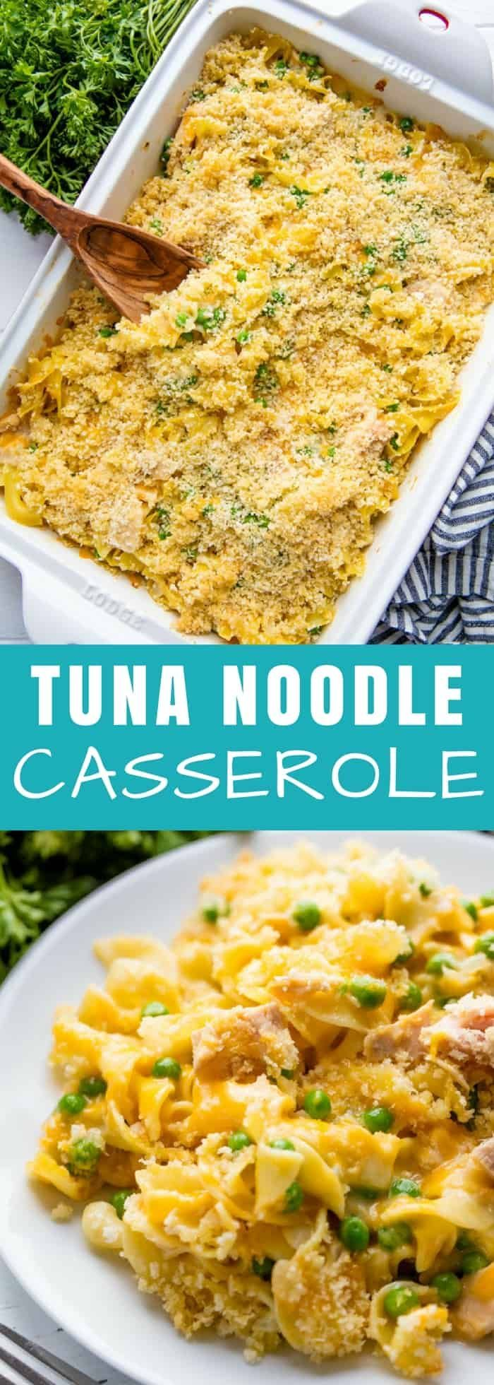 This cheesy Tuna Casserole has a #made-from-scratch sauce and a crunchy parmesan topping that puts this classic recipe over the top. Your family will love this version! #casserole #pasta #tuna #easydinner