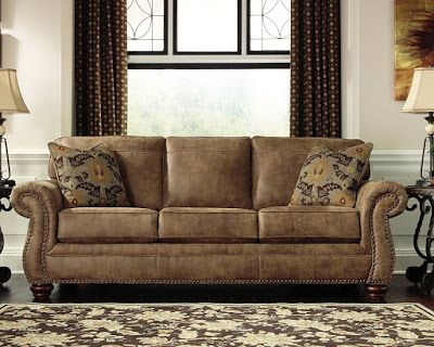 Ashley Furniture Signature Design - Larkinhurst Traditional Sleeper Sofa - Queen Size -Faux Weathered Leather - Earth