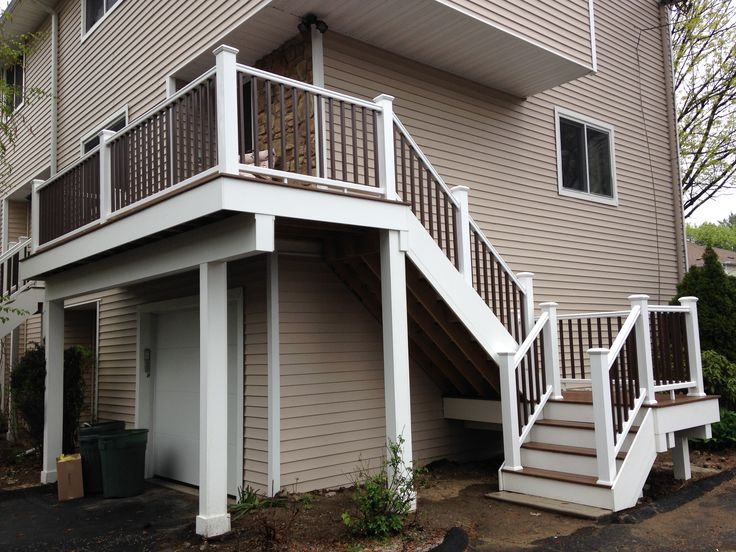 7 best second floor balcony deck images on pinterest for Second story decks with stairs