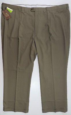 Haggar Big & Tall Pants Eclo Glen Classic Fit Comfort Waist Pleated Taupe 56x32