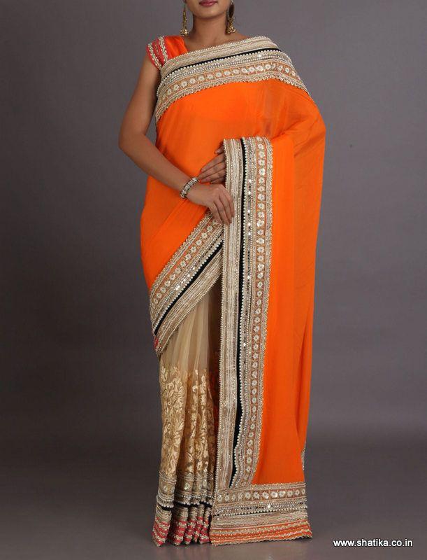 Bhavna Embroidered Super Net Cut Work Lace Bordered Designer #LehengaSaree