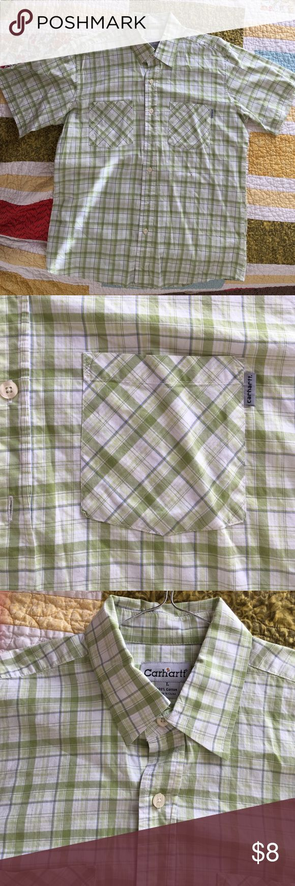 Large men's Carhartt button down shirt large men's button down Carhartt shirt. Light green plaid. Does have a tiny hole just below the pocket you can hardly see. Carhartt Shirts Casual Button Down Shirts