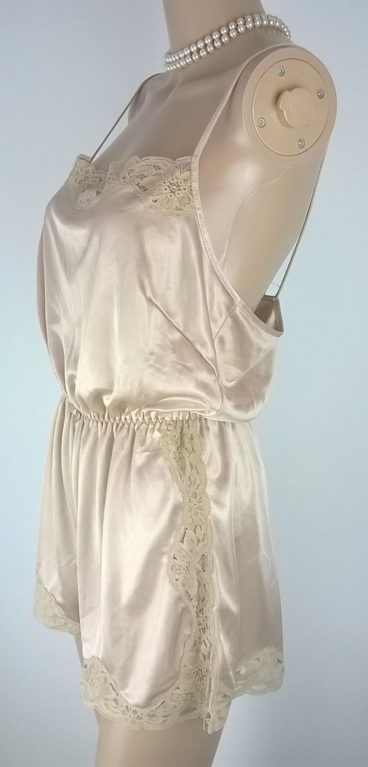 Vintage Liquid Satin & Lace Beige Playsuit 1980's/90's All In One Teddy Size 16-18 UK Large Vintage Lingerie Gossard 80s Teddie Jumpsuit by RadicalMaudVintage on Etsy