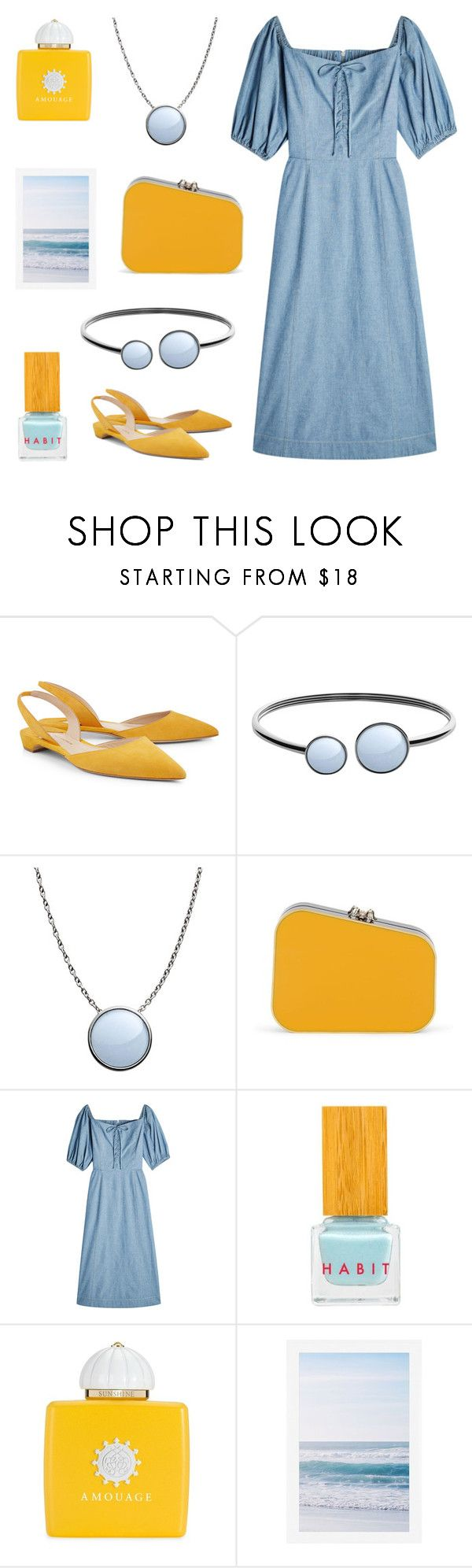 """""""Denim and marigold"""" by deepwinter ❤ liked on Polyvore featuring Paul Andrew, Skagen, Charlotte Olympia, Sea, New York, Habit Cosmetics, AMOUAGE and Pottery Barn"""