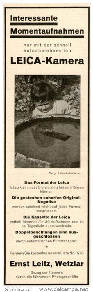 Original-Werbung/ Anzeige 1928 -  LEICA KAMERA / ERNST LEITZ WETZLAR - ca. 65 x  220 mm
